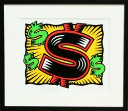 Burton Morris Dollar Sign Deluxe Screenprint With Drawing Signed And Number