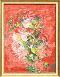 Unknown Artist, Abstract Flowers On Red, Oil On Board, Signed 'e. Frank' And Dat