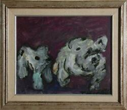 T.m. Scarth Two Small White Dogs Oil On Board Signed