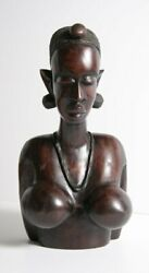 African Or Oceanic Objects, Female Bust, Laquered African Hardwood