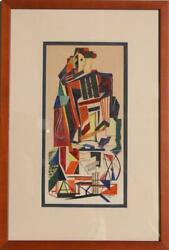 Susan Forman, Standing Cubist Figure, Watercolor On Board, Signed And Dated L.r.