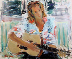 Dimitrie Berea Young Woman with Guitar at Home of Baron Mumm Oil Painting