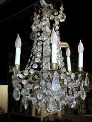 Antiques, Crystal Beaded Chandelier, Brass Chandelier With Crystals And Candle S