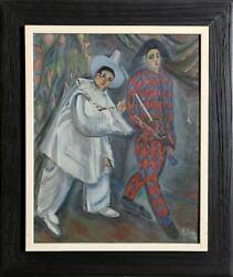 Georgette Silver, Pierrot And Harlequin, Oil On Canvas, Signed And Dated