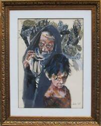 Moshe Gat, Older Woman And Child Near Cacti, Gouache On Paper, Signed L.r.