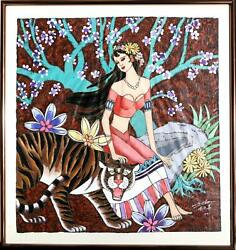 Xinhua Lin Woman And Tiger Acrylic On Paper Signed L.r.