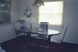 Wrought Iron Table Large Glass Top Four Steel Chairs Dining Set Vintage 1900s