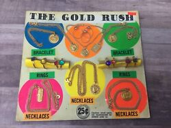 The Gold Rush Necklace And Ring Asst Gumball Vintage Vending Display Card K6