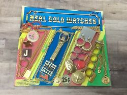 Real Gold Watches Necklaces Ring Asst Gumball Vintage Vending Display Card K62