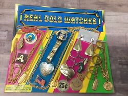 Real Gold Watches Necklaces Ring Asst Gumball Vintage Vending Display Card K6