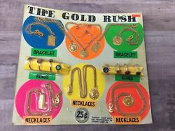 The Gold Rush Necklace And Ring Asst Gumball Vintage Vending Display Card Ez2
