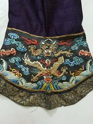 Antique Chinese Dragon Robe Sleeve Silk Hand Embroidered Fragment 58x22cm