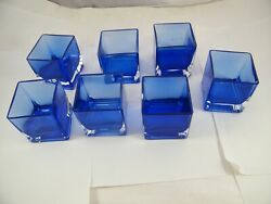 Cobalt Blue Glass Square Votive Candle Holders Lot Of 7