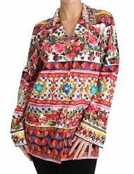 Dolce&Gabbana Women Multicolor Blouse Cotton Print Long Sleeve Shirt Sz IT 44 M