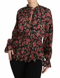 Dolceandgabbana Women Black Blouse Silk Floral Print Waistband Long Sleeves Shirt