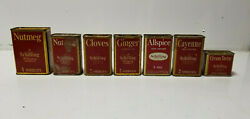 Vintage Spice Tin Schilling And Co Lot Nutmeg Cloves Ginger Allspace Cayenne Lot