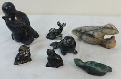 Group Of 7 Abstract Eskimo Stone Carvings Of Animals And A Human Ca.1900-1920