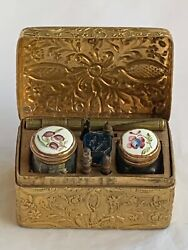 Gorgeous Antique Gilt Metal Travelling Writing Box With South Staffordshire Enam