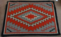 Antique Native American Style Woven Rug Graphic Red 4 Color Design Super Clean