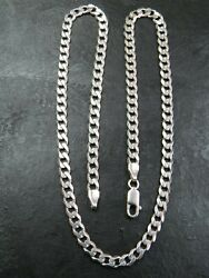 Vintage 9ct White Gold Flat Curb Link Necklace Chain 16 Inch C.1990