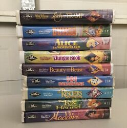 Lots of 9 Vintage Walt Disney Movies Home Video Black Diamond VHS Cassette Tape