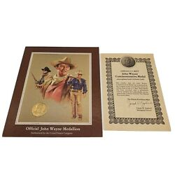 John Wayne U.s. Mint Commemorative 24 Karat Gold Plated Medal.