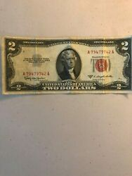 2 1953c Red Seal Two Dollar Usa A79479742a Legal Tender Note Bill Currency