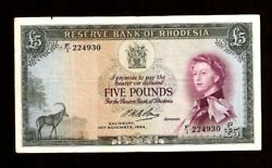 Rhodesia 5 Pounds P-26 10-11-1964 Rare Date F/1 Queen Antelope Zimbabwe Banknote