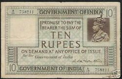 India 10 Rupees P5 A 1917 British King George V Mc Watters Rare Currency Gb Note