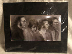 Collectible Beatles 8.5 X 16 Pencil Sketch Drawing Signed By Haiyan 2002