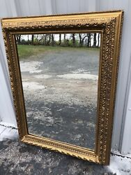 """Large Antique Fancy Gold Gesso On Wood Painted Mirror 49"""" X 37 1/2"""" X 3 1/2"""""""