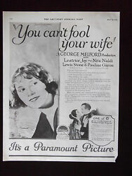 1923 Paramount Pictures You Canand039t Fool Your Wife Leatrice Joy Advertisement