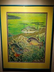 Original Tom Kronen Field And Stream Fish River Lake Painting Trout Bass Fishing