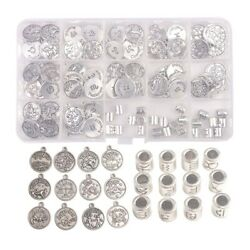 120pcs/box Antiqued Silver Metal Sign Charms W/cylinder Zodiac Beads In Storage