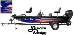 Distressed American Flag Usa Graphic Wrap Kit Fishing Boat Bass Decal Fish Vinyl
