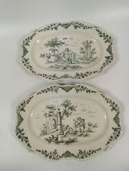 Moustiers A Pair Of Plates 18th Century Fayence 33.5 Cm / 13 In France