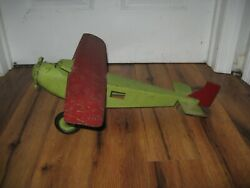 Antique 1930and039s Pressed Steel Turner Toys Aeroplane Toy Airplane Plane Rare Truck