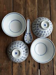 Lot Of 4 Rare Chinese Porcelain Bowls And 1 Spoon Collectible Home Decoration