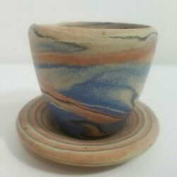 Agateware Pot And Saucer Hand Thrown Pottery Blue Earthenware Variegated Marbled