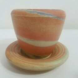 Agateware Pot And Saucer Hand Thrown Pottery Clay Earthenware Variegated Marbled