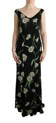 Dolceandgabbana Women Black Dress Silk Floral Print Zip Sheath Maxi Bodycon Wrap