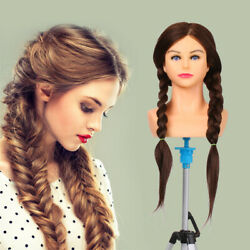 Cosmetology Mannequin Head 65cm Real Hair Hairdressing Training Doll Tool
