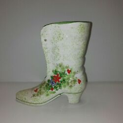 Inarco Ladies Victorian Boot With Handpainted Floral Detail Planter Japan 6 Inch
