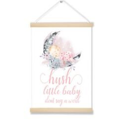 Nursery Hush Little Baby Vintage Lullaby Art Wall Decor Wooden Hanging Picture