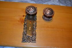 Antique Vintage Aesthetic 1 Set Of Brass Door Knobs And Face Plate,and Rosette