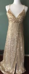 Sequin Gold Evening Dress Long Size Large Long Prom Wedding $24.99
