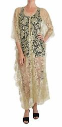 Dolceandgabbana Women Gold Dress Nylon Floral Lace Crystal Double Kaftan Cape Gown