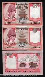 Nepal 5 Rupees P53 2005 Solid Low 000001-100 King Everest Unc Full Bundle Note