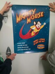 Mighty Mouse Fossil Watch 1994 Promotional Poster 28 X 22