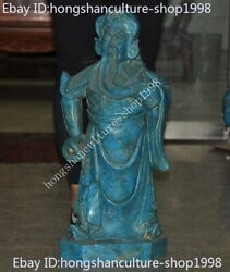 Old Chinese Turquoise Stone Carving Dragon Guan Gong Guan Yu Warrior God Statue
